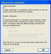 Choice of cutting plan